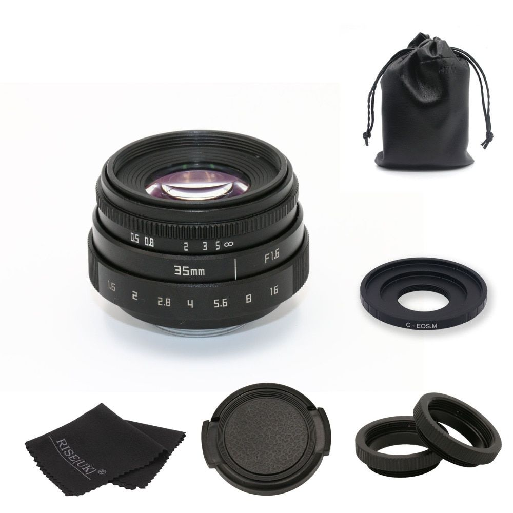 new arrive FUJIAN 35mm f1.6 C mount CCTV Lens II +C mount adapter ring+Macro For Canon EOS M EF-M Mirrorless free shipping