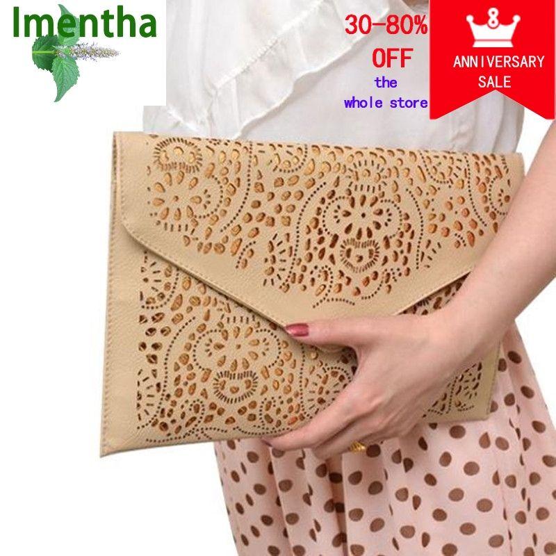 Découpe pochette pour femmes sac femelle creux découpé brun enveloppe embrayage sac à main chaîne soirée pochettes pour fille mariage jour embrayage