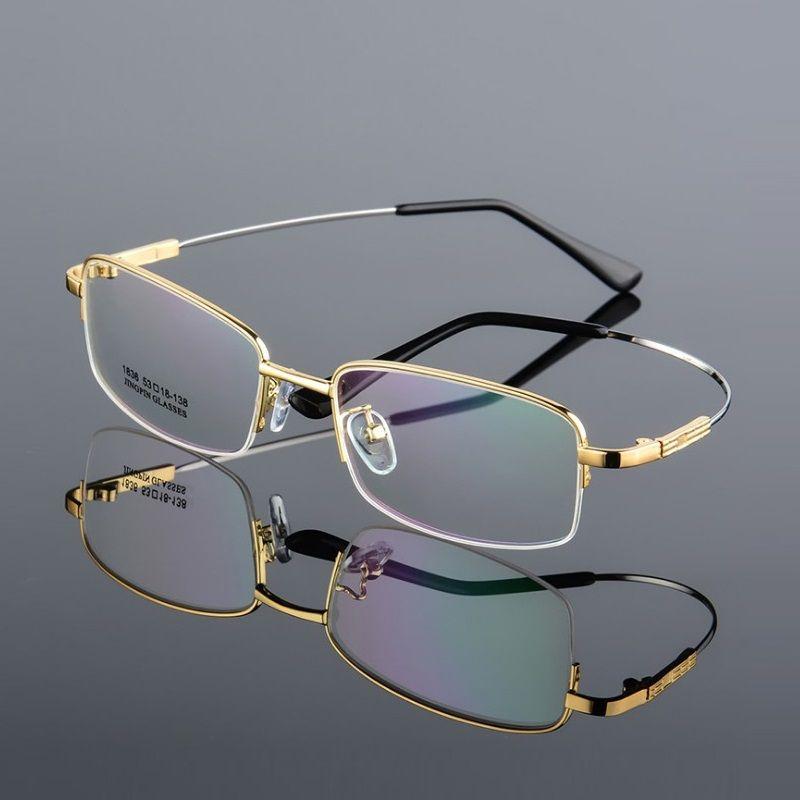Largeur-143 titane alliage mémoire Temple hommes lunettes montures de lunettes demi-jante myopie lunettes montures lunettes de lecture lunettes nouveau