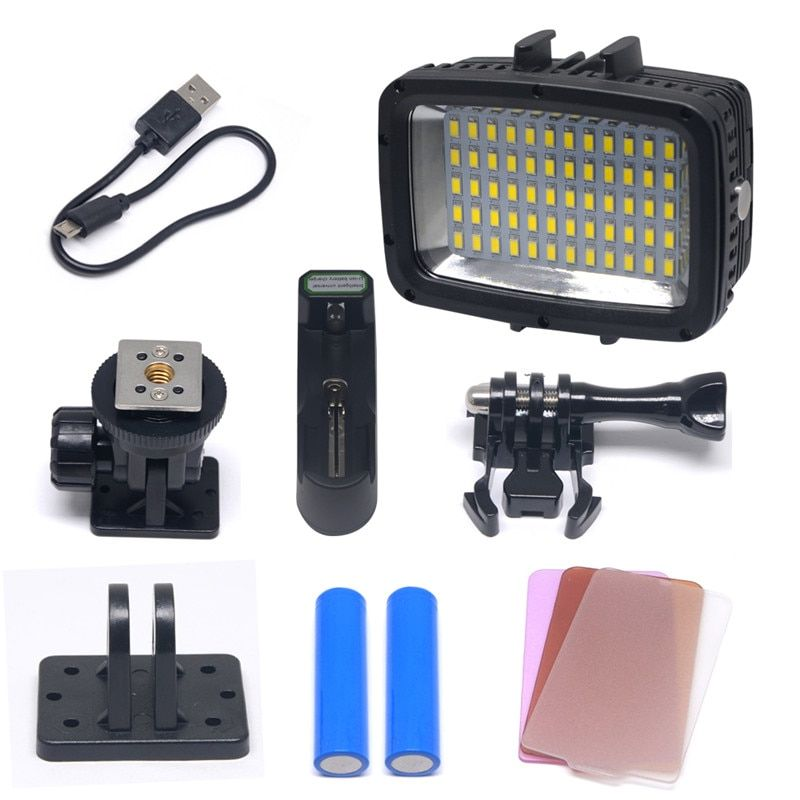 Mcoplus LE-60Y Waterproof Video LED Light Underwater 40m 1800LM 60pcs Diving Lamp for DV DSLR Gopro XIAOYI Sjcam Hero Cameras
