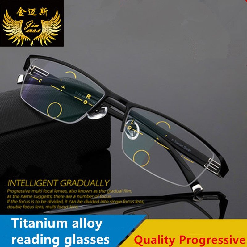 2017 nouveau hommes titane alliage qualité Progressive lunettes de lecture mode demi-jante classique Multifocal Prebyopia lunettes pour hommes