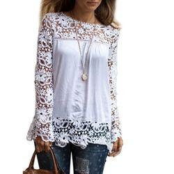 2018 mujeres de la manera blusa chiffion y Camisas blanco manga larga Encaje Tops más tamaño blusas ganchillo flor señoras chemise femme