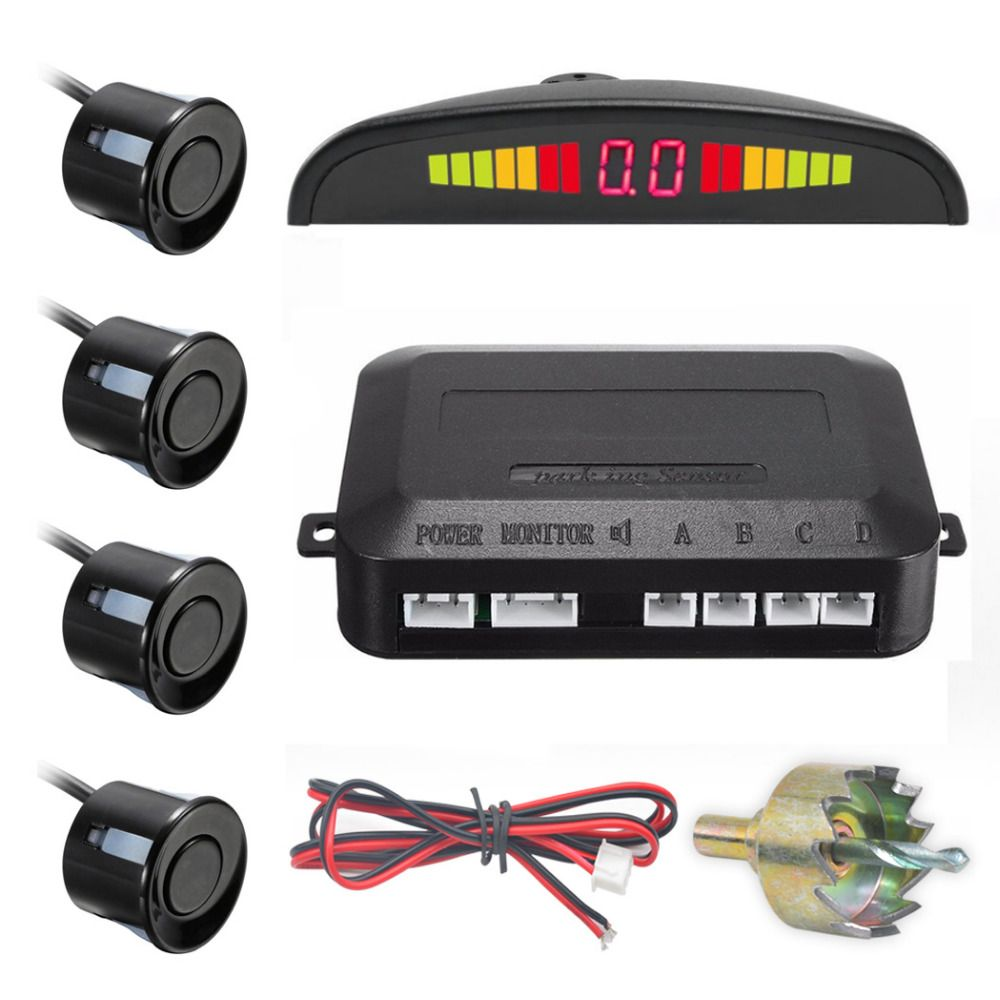 Un Conjunto de Led Sensor de Aparcamiento Parktronic Detector Auto Del Coche Del Revés de la Exhibición del Sistema de Monitor de Reserva Del Radar con 4 Sensores