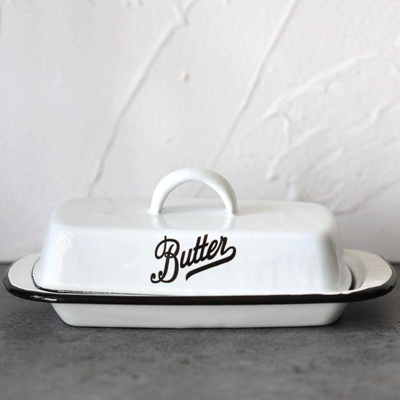 Weiß Emaille Butter Platten Snack-fach Dinnwerware Sets Tablett