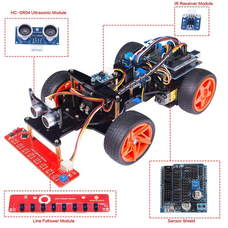 SunFounder Télécommande Robot Intelligent De Voiture Kit V2.0 pour Arduino Uno R3 Ultrasons Suiveur De Ligne Capteur IR Récepteur