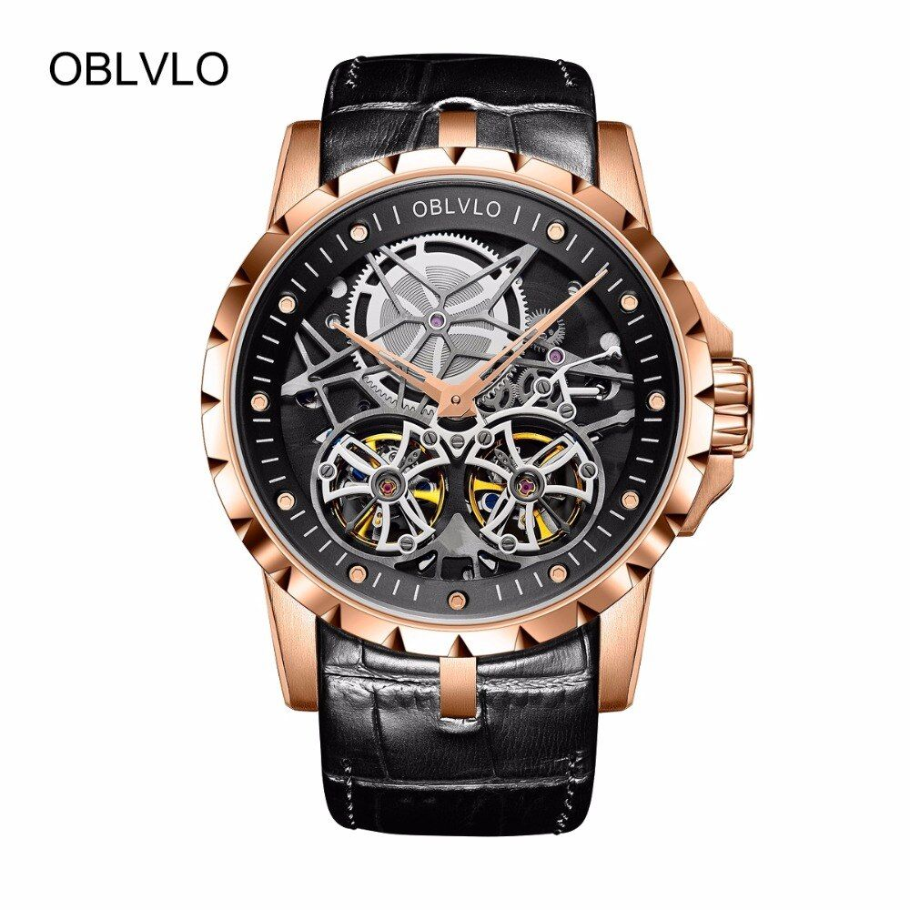 2018 New Arrival OBLVLO Luxury Rose Gold Transparent Watches Tourbillon Automatic Military Watches Men Relogio Masculino OBL3606