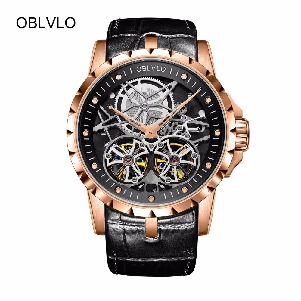 2018 neue Ankunft OBLVLO Luxus Rose Gold Transparent Uhren Tourbillon Automatische Militär Uhren Männer Relogio Masculino OBL3606
