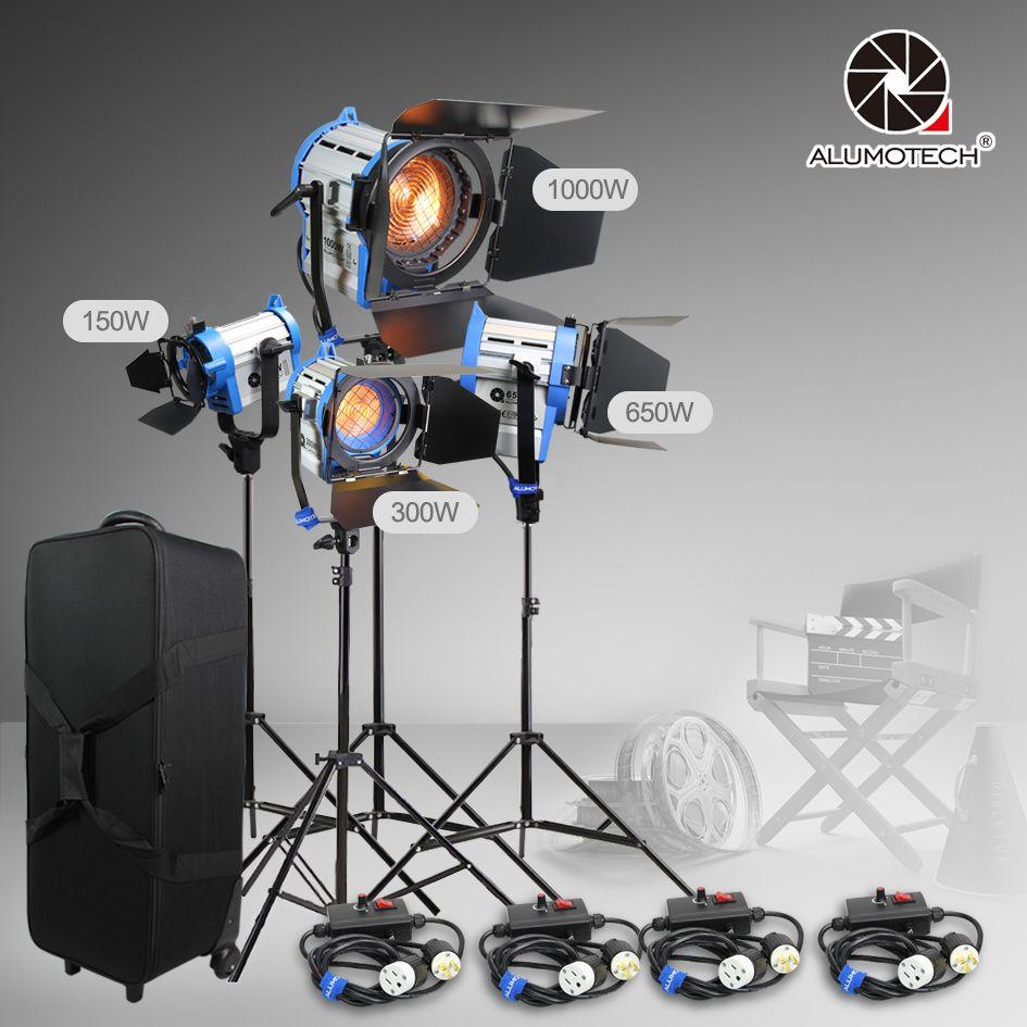 ALUMOTECH Wie ARRI 150 Watt + 300 Watt + 650 Watt + 1000 Watt Wolfram Spot licht + fall + stand + 4 dimmer Kit
