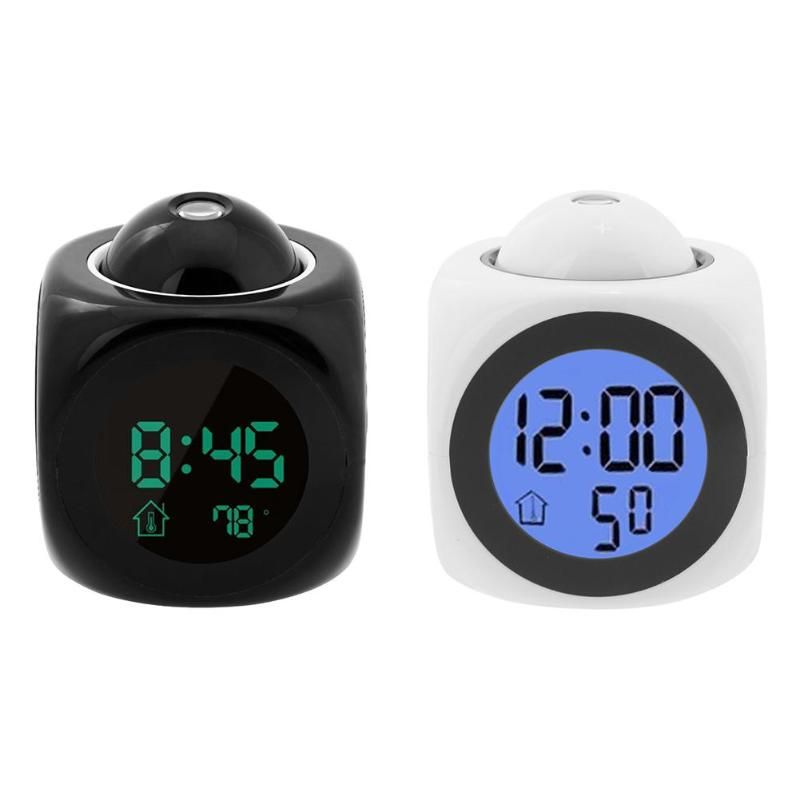 Digital LCD Display Colorful Voice Projection Alarm Clock with Temperature Desk Alarm Clock Dat Week
