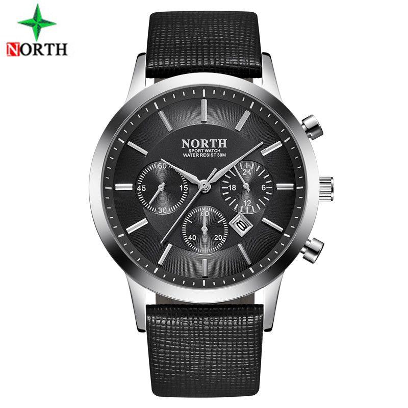 Sport Watch Men Leather <font><b>NORTH</b></font> Mens Watches Top Brand Luxury Watch Clock Waterproof Quartz Military WristWatch Men Sport Watches