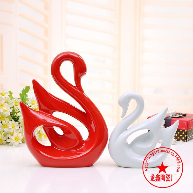 Swan-2 Pcs/paire En Céramique Éléphant Figurine Amoureux Des Animaux Couple Porcelaine Cadeau De Mariage Accueil Cabinet Salon Décor