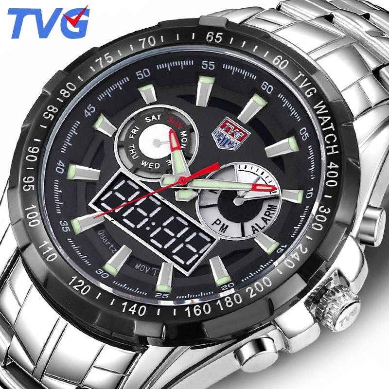 TVG Luxury Brand Quartz Watch Men Sport Waterproof LED Digital Analog Watches Military Wrist Watch Clock Man Relogio Masculino