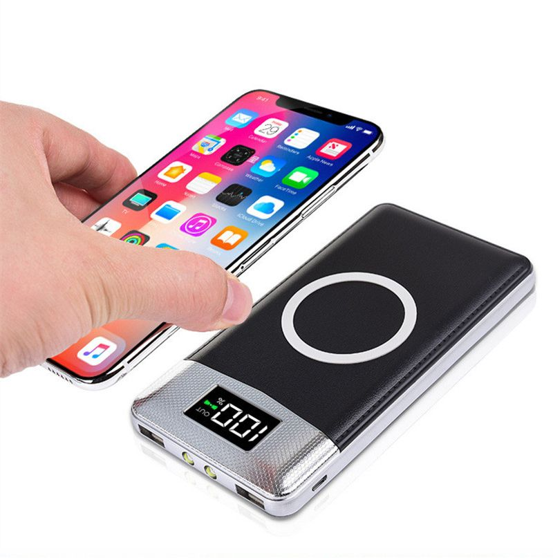 Hot 30000mah Power Bank External Battery Bank Built-in Wireless Charger Powerbank Portable QI Wireless  for iPhone 8 X 18650