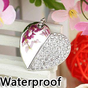 Imperméable à l'eau Diamant Coeur Necklac Pendrive 64 gb Mini Usb Creativo Lecteur Flash Drives Stylo Lecteur 16 gb 32 gb Mémoire bâton Carte Cadeau