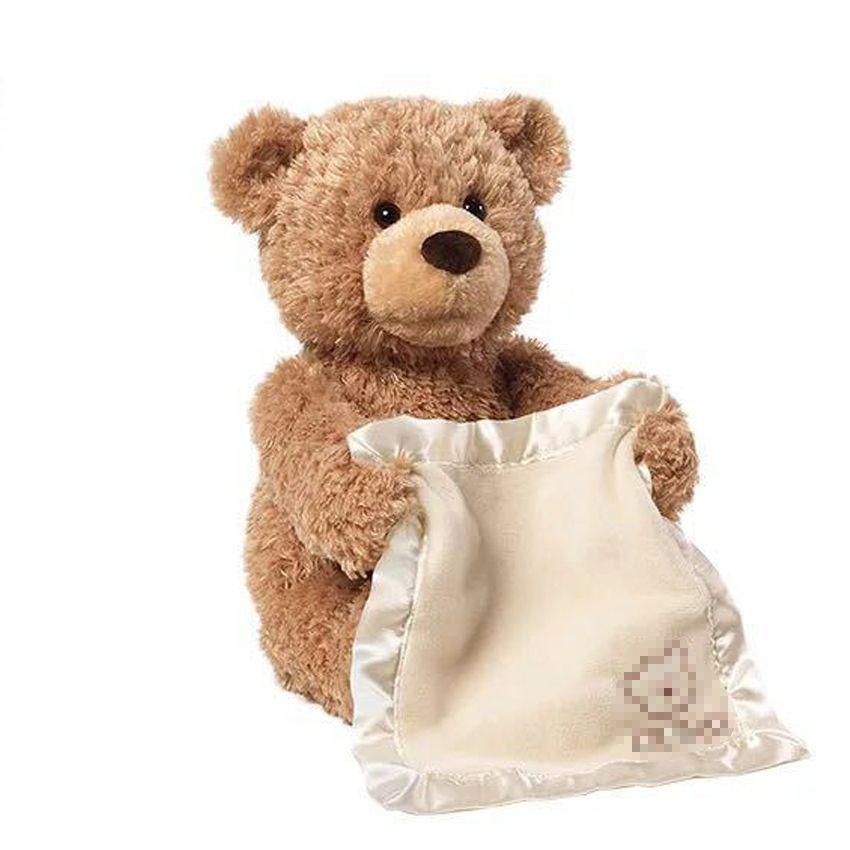 Joyyifor Peek a Boo Teddy Bear Play Hide And Seek Lovely Cartoon Stuffed Kids Birthday Gift 30cm Cute Music Bear Plush Toy