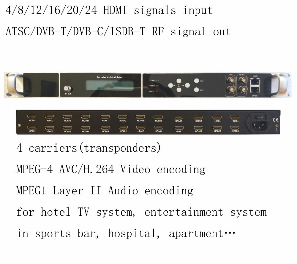 Hohe integration 1080 p multi HDMI zu DVB-C/DVB-T/ATSC/ISDB-T encoder modulator Digital TV Headend QAM RF Modulator VEK-4782I