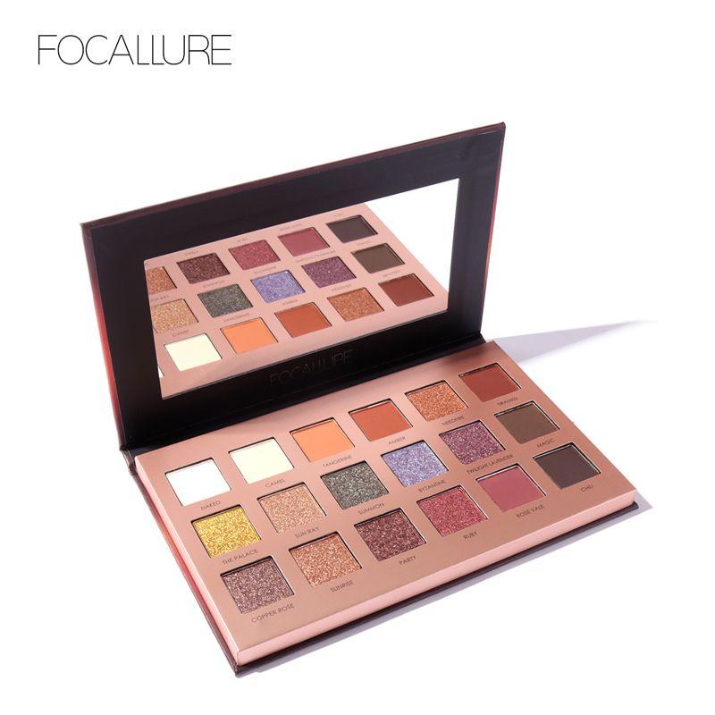 FOCALLURE 18 Couleurs Glitter Fard À Paupières Shimmer Pigment Palette Cosmétiques Glitter Ombre À Paupières Maquillage Beauté