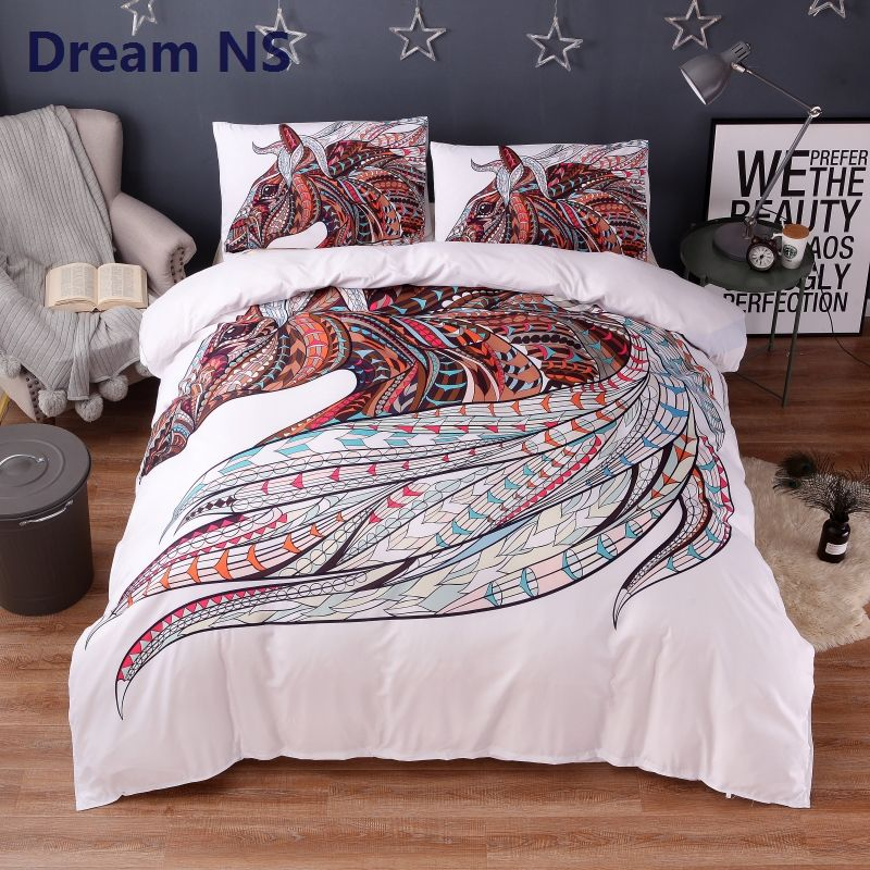Dream NS Dynamic Horse Bedding Set Classic Bohemian Duvet Cover Indian Tribal Bed Sets Rainbow Bedspread Adult King Queen