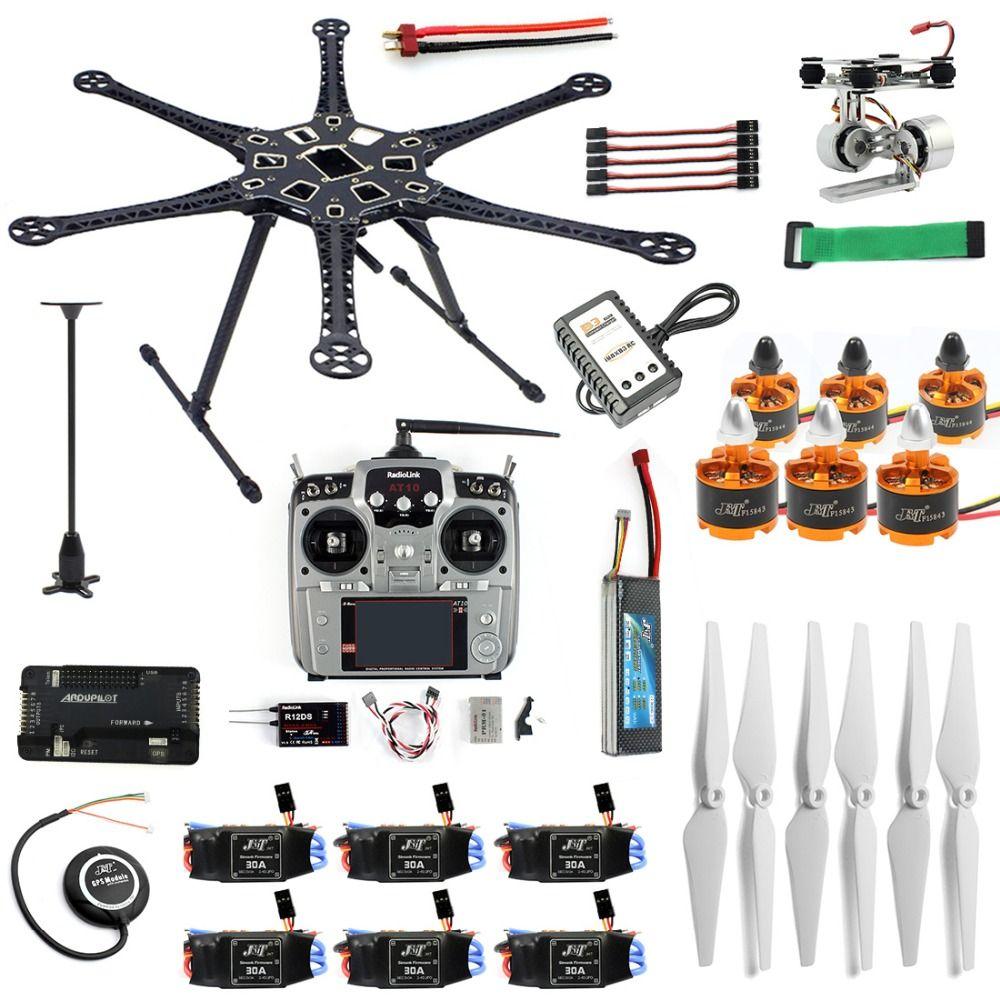 DIY RC Drone Gimbal Kamera Mount Full Set 6-Achse Aircraft Kit HMF S550 Rahmen 6 M GPS APM 2,8 Flight Control AT10 II Sender