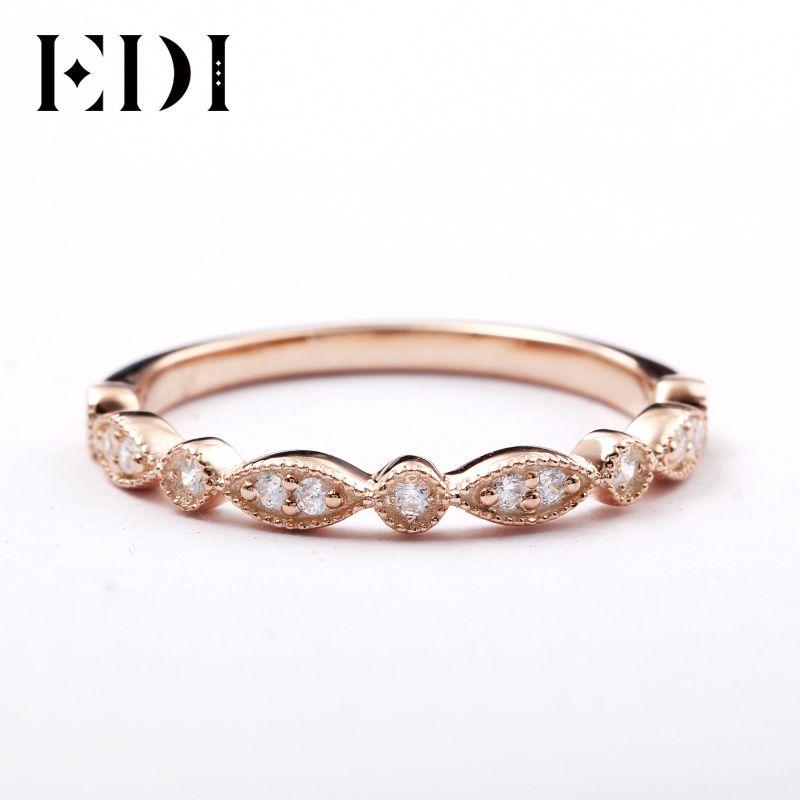 EDI 14kt Rose Gold Natürliche Diamant Band Ring Edlen Schmuck Geschenke Für Frauen Diamant Unendlichkeit Ring Dainty Ring