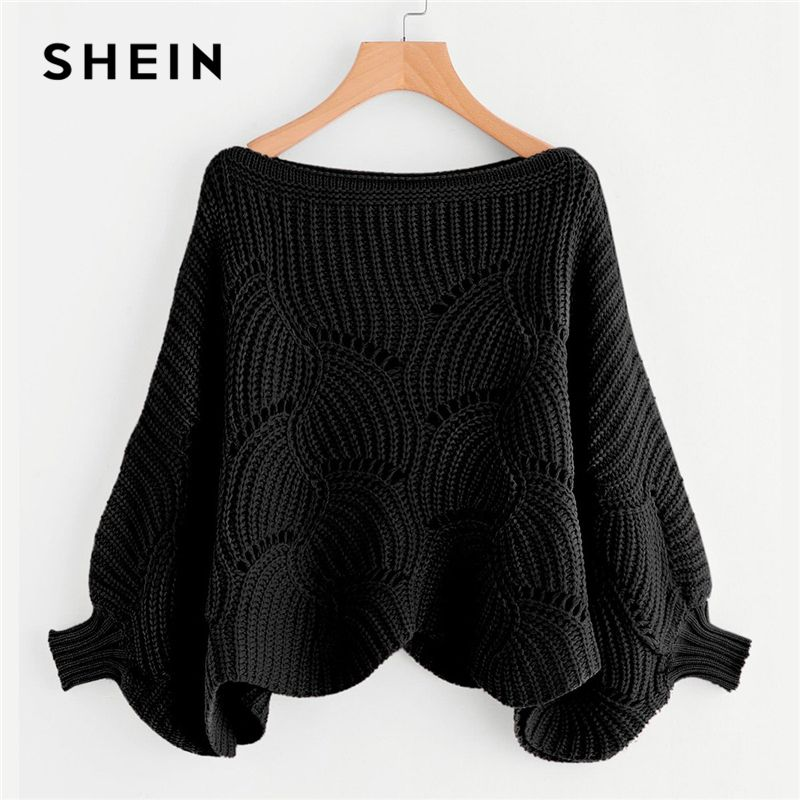 SHEIN Black Preppy Solid Oversized Eyelet Detail Scallop Trim Batwing Sleeve Boat Neck Sweater 2018 Autumn Casual Women Sweaters