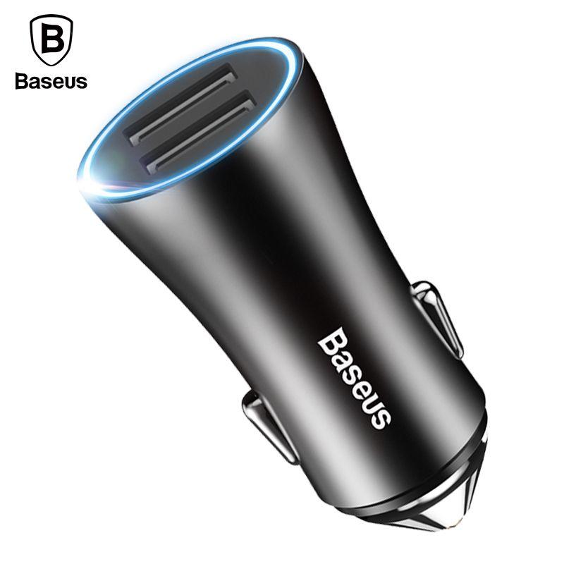 Baseus LED Chargeur De Téléphone De Voiture Pour iPhone Samsung Xiaomi Tablet PC Mobile Téléphone Chargeur Pour Chargeur De Voiture Adaptateur 2 USB voiture-Chargeur