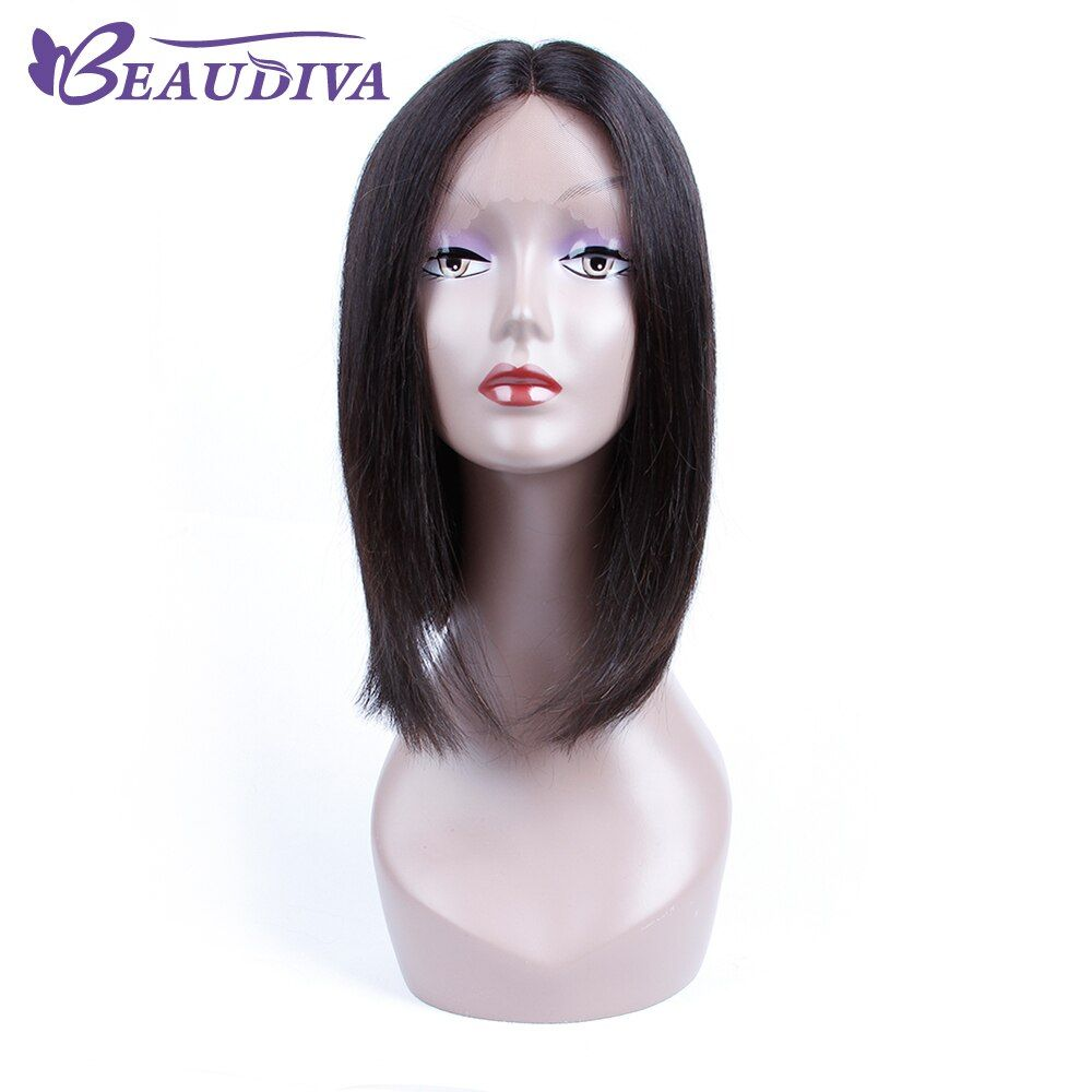 BEAUDIVA Pre-Colored 1B Natural Color Straight Lace Front Human Hair Wigs 12