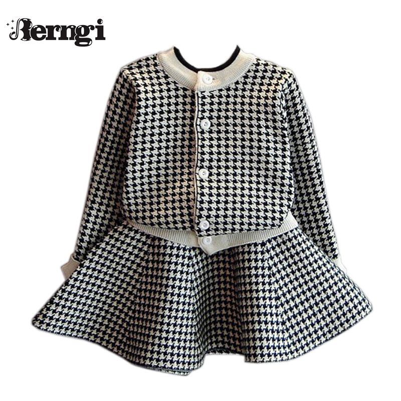 Berngi Girls Clothing Sets Kids Houndstooth Knitted Suits Long Sleeve Plaid Jackets+Skirts <font><b>2Pcs</b></font> for Kids Suits