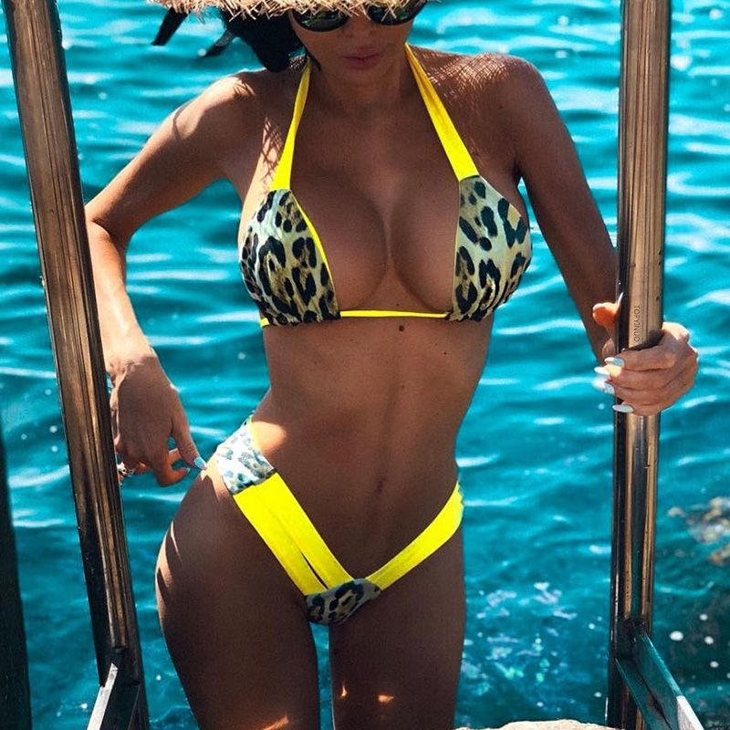 Brazilian leopard bikini 2019 thong swimsuit female Halter swimwear women Sexy Two pieces Micro bikini set Bather bathing suit