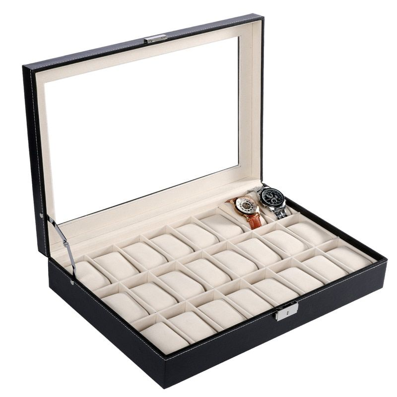 FANALA 24 Grid/20 Grid/10 Grid Watch Winder PU Leather Watch Box Display boite montre With Glass Top Window for Wrist Watches