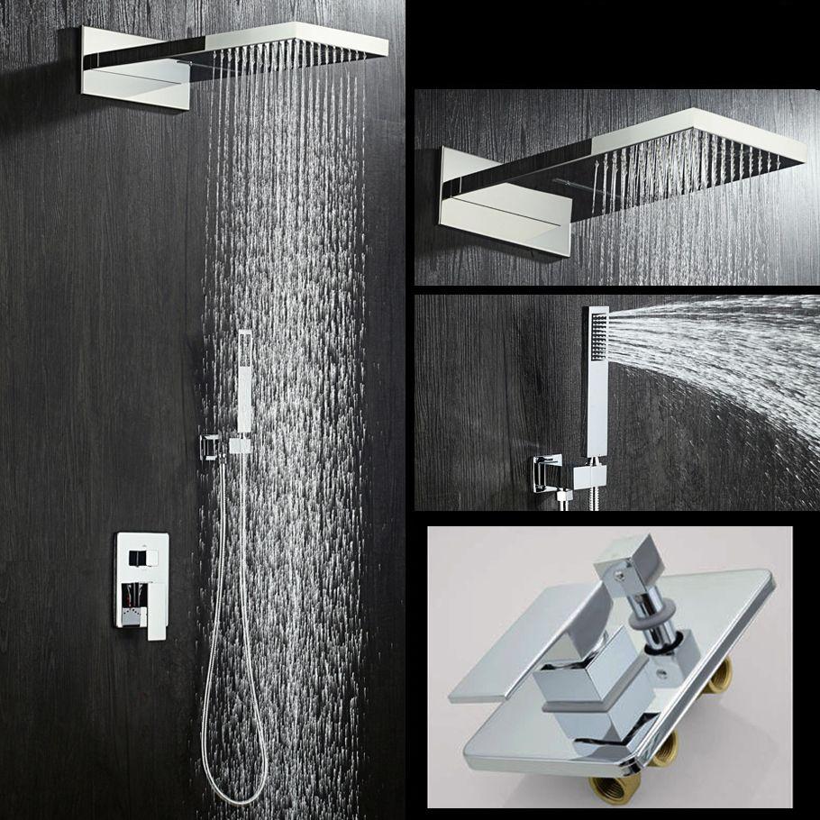 Bad Wasserfall Niederschläge Chrom Messing Wasserfall Regen Dusche Kopf 3 Möglichkeiten Ventil Mixer Kalt-und Warmwasser Tap Hand Dusche