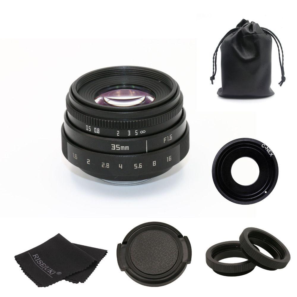 new arrive fujian 35mm f1.6 C mount camera CCTV Lens II for Sony NEX E-mount camera & Adapter bundle black free shipping