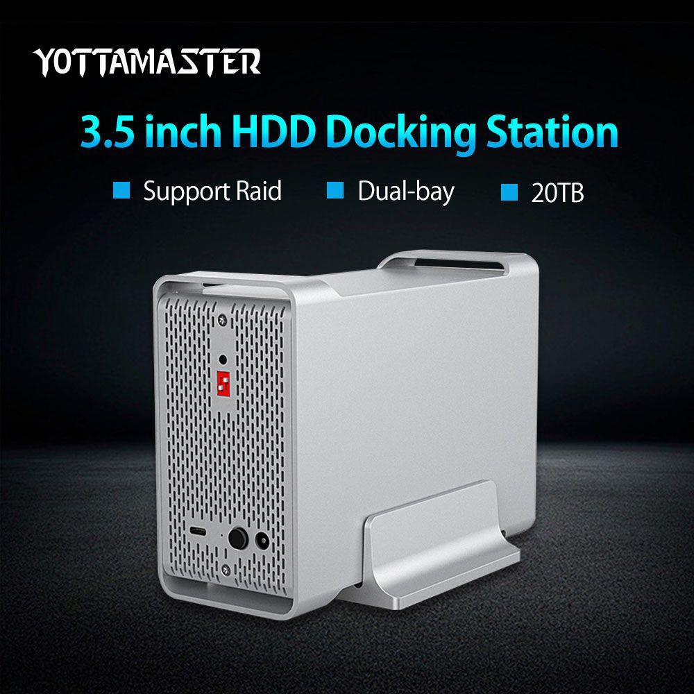Yottamaster High-end Dual-bay 3,5 zoll HDD Docking Station Box USB3.0 Gen2 5 Gbps Externe HDD Gehäuse fall Unterstützung RAID 20 TB