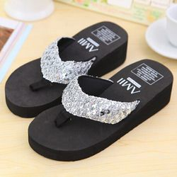 Sliver Summer Shoes Women Platform Sandals Wedge Flip Flops Sapato Feminino High Heel slippers Sandalias Plataforma Chanclas