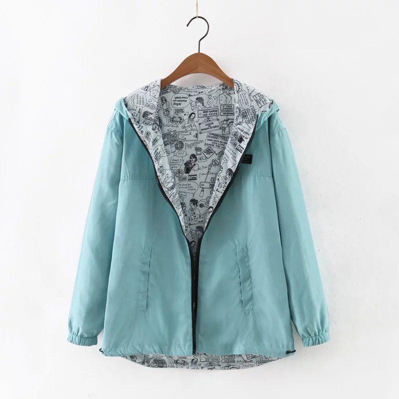 kumaiya 2018 Autumn Women Bomber Basic Jacket Pocket Zipper Hooded Two Side Wear Cartoon Print <font><b>Outwear</b></font> Loose Coat