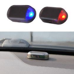 1 unids coche universal LED sistema de seguridad ligero antirrobo destello falsa alarma de coche solar luz LED