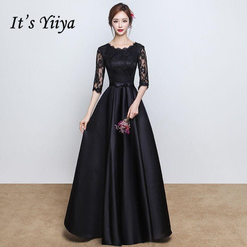 It's Yiiya 2017 Popular O-Neck Short Sleeve Evening Dress Satin Bow Floor Length Evening Party Formal Evening Frocks X172
