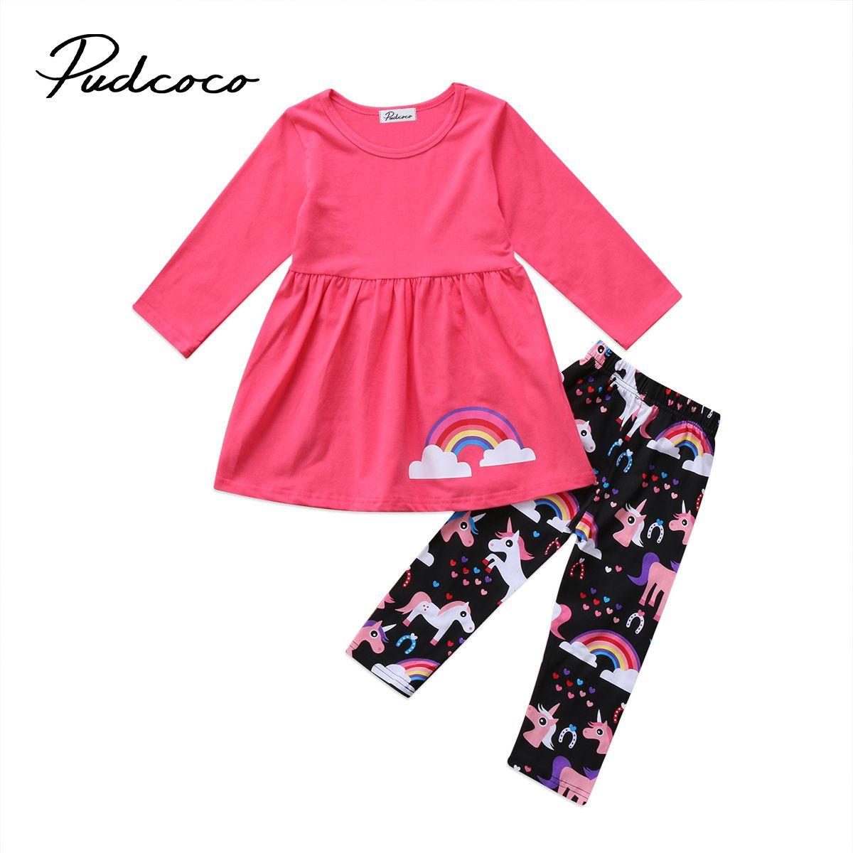 Enfant Enfants Bébé Filles Vêtements Set Licorne Imprimer Tops T-shirt Leggings Pantalon Hiver Coton Vêtements Tenues À Manches Longues 2 pcs