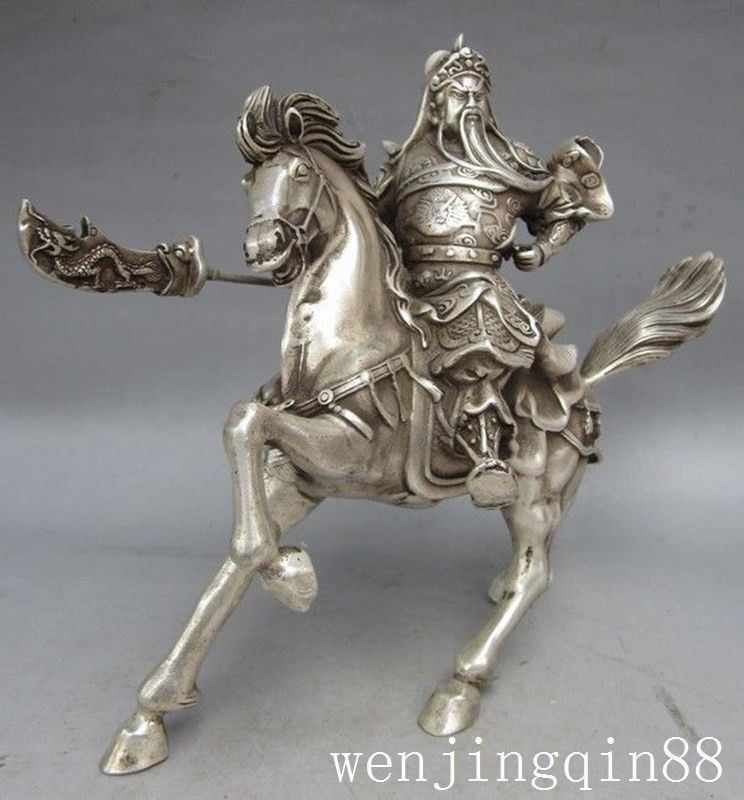 China Fengshui Silver Kuan Kung Guan Yu Warrior God hold machetes Ride Horse Lucky statue metal handicraft