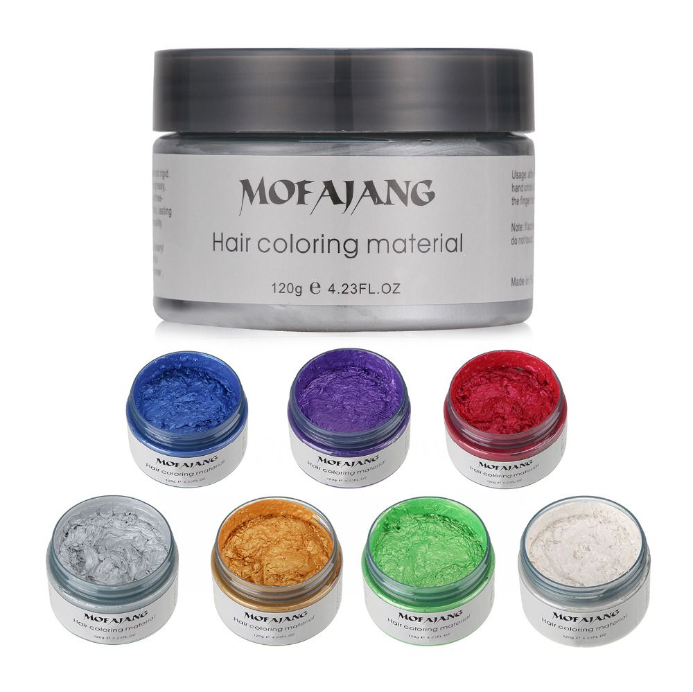 Mofajang Color Hair Wax Styling Pomade Silver Grandma Grey Disposable Natural Hair Strong Gel Cream Hair Dye for Women Men 120g