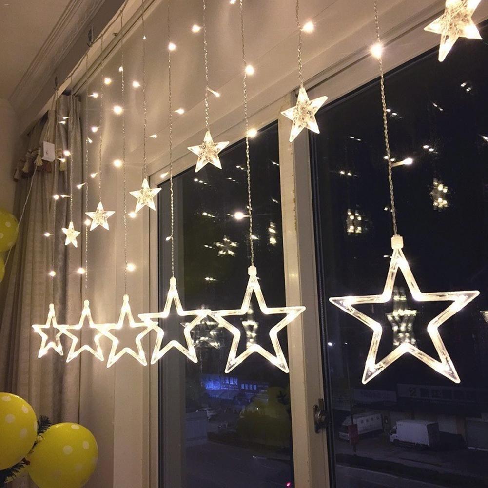 2.5M LED lumières à cinq branches étoile rideau lumière étoile mariage anniversaire x-mas lumière intérieur blanc chaud AC 220V guirlande fête décor