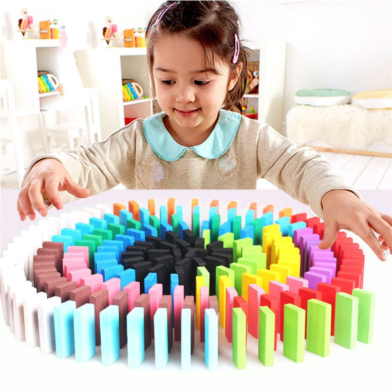 120/240pcs Creative Wooden Colored Domino Blocks Model Building Kits Early Bright Dominoes Games Educational Toys For Children