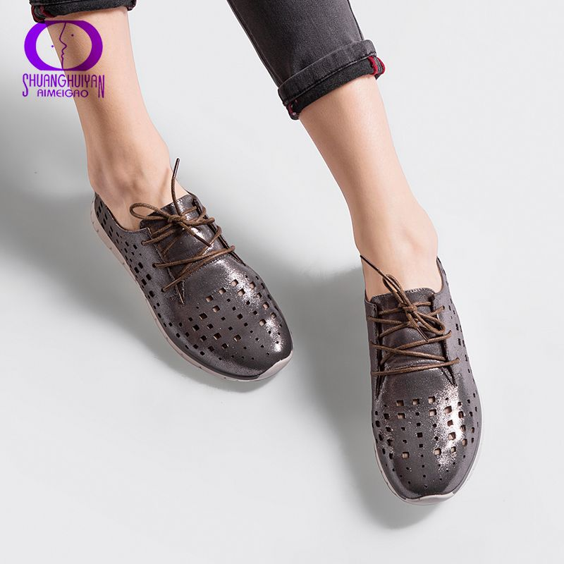 AIMEIGAO Autumn Spring Soft Leather Flats Shoes Women Lace Up Breathable Shoes Hollow Out Casual Women Flat Soft Shoes
