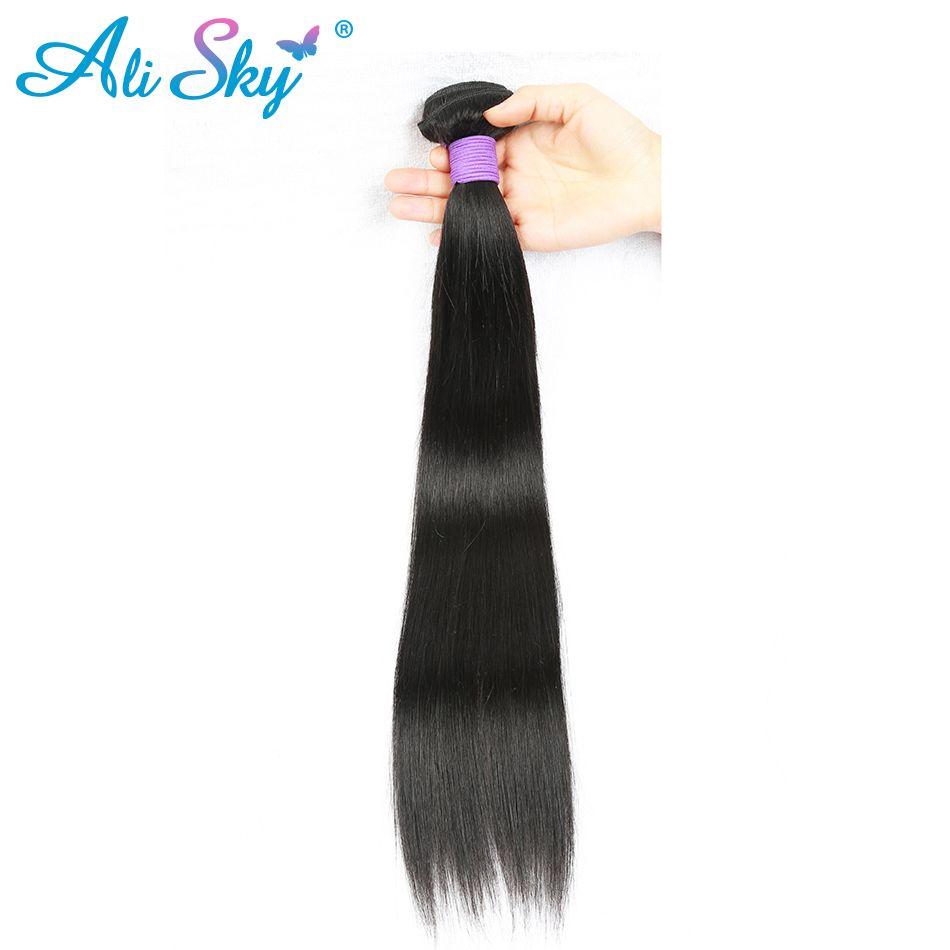[Ali Ciel] Droite Brésilienne Remy Cheveux 1 faisceau 100% de Cheveux Humains Weave Bundles Naturel Noir Couleur Livraison Gratuite peut être teints