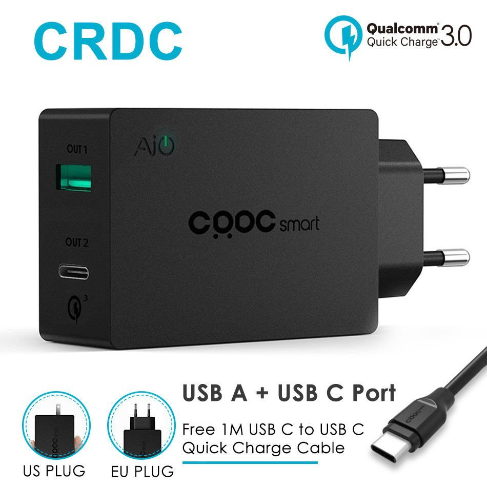 CRDC Smart Mobile Phone Charger Quick Charge 3.0 2-in-1 Type C 5V/3A & USB Charger Wall Quick Charging for Galaxy S8 Xiaomi LG