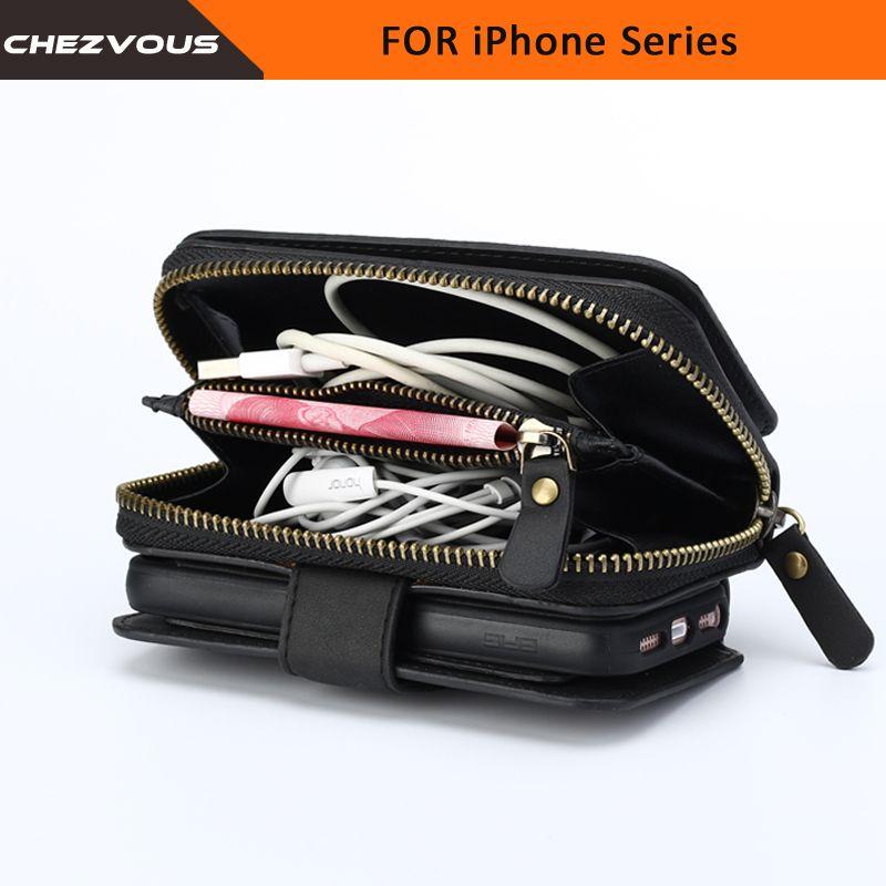 Portefeuille Flip couverture en cuir pour iPhone5 6 s 7 étui 2 en 1 fente pour carte Stand étui pour iphone 7 6 6 s Plus Zipper sac à main téléphone sac pochette