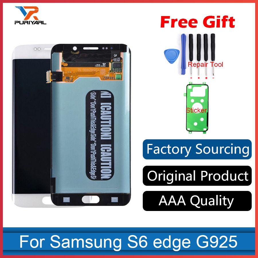 AAA Original Super AMOLED Für Samsung Galaxy S6 Rand G925F G925 LCD Screen Digitizer Assembly Ersatz-Gold/Weiß/blau
