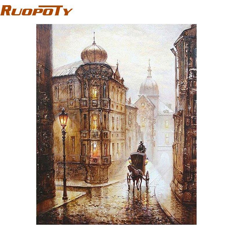 RUOPOTY cadre peinture par numéros abstrait Vintage mur décor bricolage image peinture à l'huile sur toile pour la décoration de la maison Europe rue