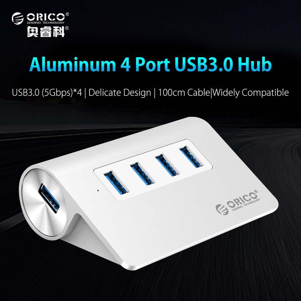ORICO USB 3.0 Hub <font><b>Super</b></font> Speed 4 Ports Micro external Usb Hub Splitter Portable for Apple Macbook Air Laptop PC Tablet-(M3H4)
