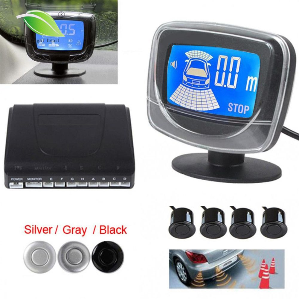 Universal Car Auto LED Parking Sensor System 4 Sensors Car Backup <font><b>Reverse</b></font> Dual CPU System with Step-up Alarm LCD Display